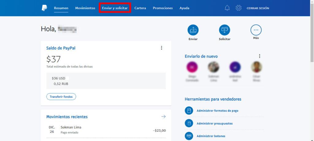 Enviar y solicitar dinero por PayPal