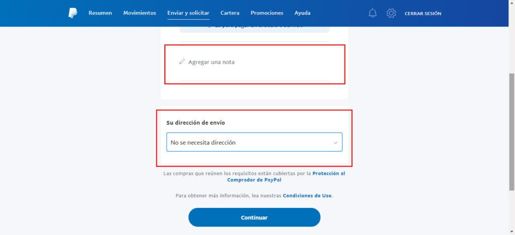 Nota y dirección PayPal