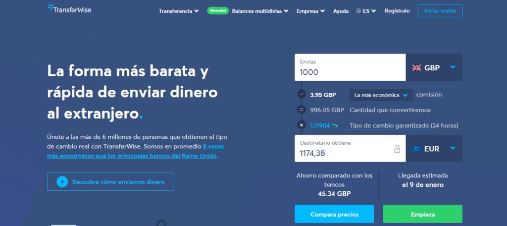 Envío de dinero por TransferWise