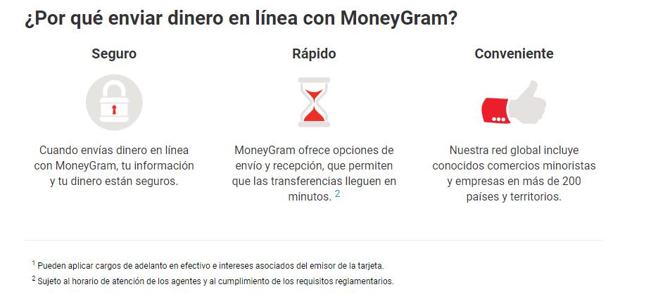 ventajas de enviar dinero por MoneyGram
