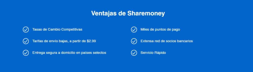 ventajas de enviar dinero por Sharemoney